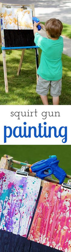 Bust summer boredom buster for home, school, or camp! Squirt gun painting is a fun art activity for kids of all ages.