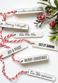 Free Printable to Make Easy Winter Tags : FREE PRINTABLE TAGS! An easy tutorial for creating beautiful wood tags to add the perfect holiday touch to packages and decor. Christmas Tags Printable, Free Printable Tags, Christmas Labels, Christmas Gift Wrapping, Christmas Ornaments, Diy Ornaments, Christmas Stockings, Dollar Tree Christmas, Dollar Tree Crafts