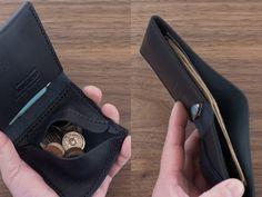 イタリア製牛革のシンプルな二つ折り財布 / ネイビー※受注製作