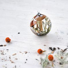 Carpathian forest inside resin sphere - Unique pendant with Real Lichen and Moss - terrarium in Globe- One-of-a-kind Mushroom necklace by OneFlowerStory on Etsy