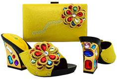 63.65$  Buy now - http://ali377.worldwells.pw/go.php?t=32771633981 - 2017 New design Italian Shoes With Matching Bags African Women Shoes And Bags Set In yellow Good Selling ! BCH-36 Yellow