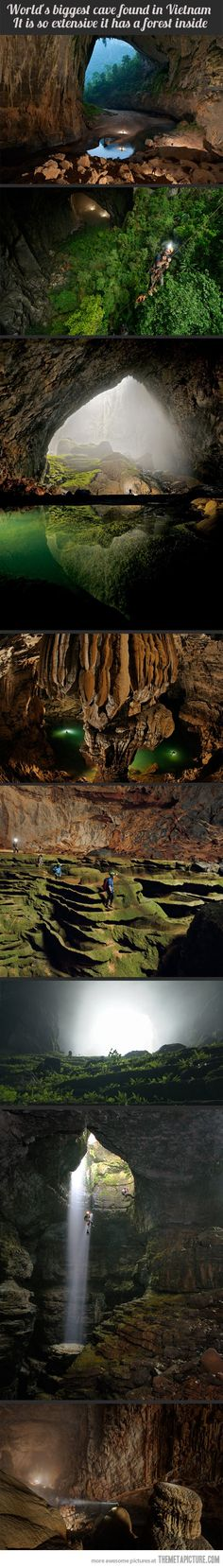 The largest (found) cave in the world - Son Doong Cave in Vietnam. It has a forest inside it!
