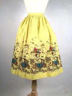 Vintage 1950s Skirt, Women's Novelty Print Skirt, Yellow, Fuschia, Mustard, Blue, Black, Watermelon Contest, Millworth, State Fair, W 32(Etsy のiandrummondvintageより) https://www.etsy.com/jp/listing/470522737/vintage-1950s-skirt-womens-novelty-print