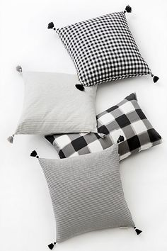 Caitlin Wilson Black French Stripe Pillow at Anthropologie Black Couches, Black And White Pillows, White Throws, Caitlin Wilson Design, Bow Pillows, Decor Pillows, Checked Cushions, Camping Must Haves, Buffalo Check Pillows
