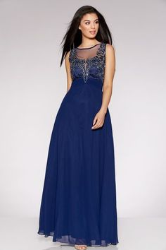 Quiz Navy Chiffon Embellished High Neck Tulle Maxi Dress UK Size 10 Mm 13 for sale online Mermaid Evening Gown, Ball Gowns Evening, Ball Gowns Prom, Ball Gown Dresses, Evening Dresses, Maxi Dresses Uk, Maxi Bridesmaid Dresses, Maxi Dress Wedding, Bridal Dresses