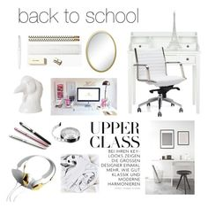 """""""Back to School"""" by hellodollface ❤ liked on Polyvore featuring interior, interiors, interior design, home, home decor, interior decorating, Home Decorators Collection, Dot & Bo, Cross and Kate Spade"""