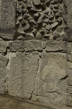 Monte Alban - Oaxaca, Mexico - The bas-relief figures from the Temple of the Danzantes were long believed to depict dancers, although some now think they may in fact represent victims of human sacrifice.