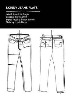 AE Skinny Jeans Technical Flats with Specs & Floats on Behance