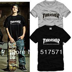 Unisex de verano las mujeres/hombres thrasher magazine mag skate t- shirt ropa skate de manga corta de hip hop tee 6 colores