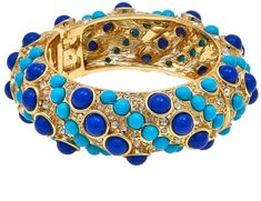 "KJL by Kenneth Jay Lane ""High Drama"" Blue Cabochon Bangle Bracelet #ad"