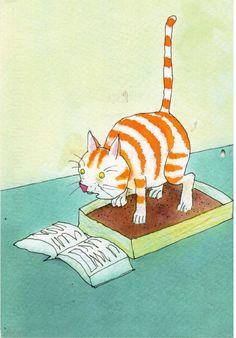 https://flic.kr/p/by7dRr | Postcrossing GB-266566 | Lustiger Cartoon spannende Lektüre auch auf dem Katzenklo lesende Katze