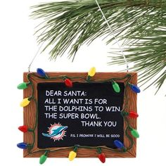 Miami Dolphins Chalkboard Sign Ornament