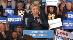 """Video: Hillary Clinton, speaking to a large and diverse crowd in Pueblo, Colorado, lashed out at Donald Trump for running, what she described as, a """"desperate"""" campaign during her campaign event. October 12, 2016"""