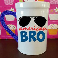 Check out this item in my Etsy shop https://www.etsy.com/listing/280990492/american-bro-glitter-dipped-mug-4th-of