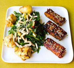 Sticky Blackened Tempeh, Cider Vinegar Chard Lunch.