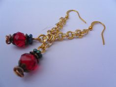 Hephaestus Red Crystal Chainmaille Earrings in by FizbanFunDesigns, $27.00