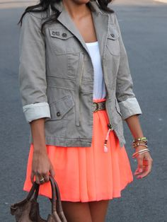 We love the utility jacket with a cute bright skirt.