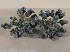 Rose Buds Miniature Blue Parchment Millinery Dolls Crafts Scrapbooks Flowers