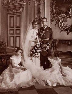 Wedding portrait of Princess Elisabeth Marie of Bavaria and her second husband, Ernst Kustner.