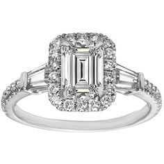 Engagement Ring - Emerald Cut Diamond Halo Engagment Ring Baguette... ($1,750) ❤ liked on Polyvore