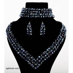 eghlimeh.com necklace, bracelet and earring that weave with crystal and bead