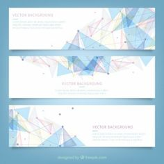 Banners with polygonal design Free Vector Web Design, Web Banner Design, Shape Design, Layout Design, Graphic Design, Portfolio Design Layouts, Geometric Background, Geometric Shapes, Cv Photoshop