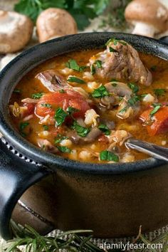 Would have to replace the barley. Lamb, Tomato and Barley Soup - A hearty, rich and delicious soup with tender chunks of lamb, barley, sliced mushrooms and diced tomatoes. Leftover Lamb Recipes, Leftovers Recipes, Soup Recipes, Cooking Recipes, Recipies, Cooking Ham, Lamb Stew, Barley Soup, Grilled Meat