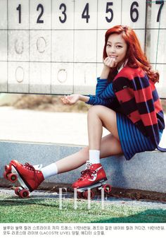 Sports Fanatic Goo Hara Models Lacoste Live In The October Issue of Elle Girl Korea Girls Magazine, Elle Magazine, South Korean Girls, Korean Girl Groups, Goo Hara Kara, Pop Fashion, Fashion Outfits, Girl Korea, Preppy Look