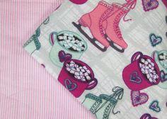 Baby Blanket Handmade Cute Winter Ice Skating Print Blanket Baby Shower Gift Stroller Blanket