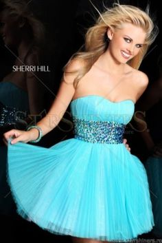 Rochie Sherri Hill albastru aqua de lux scurta in clos tip corset Blue Homecoming Dresses, Prom Dresses 2016, Plus Size Prom Dresses, Grad Dresses, Dresses For Teens, Dress Outfits, Short Dresses, Dress Up, Prom Gowns