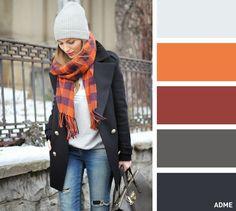 15сочетаний цветов для шапок ишарфов Серый и оранжевый