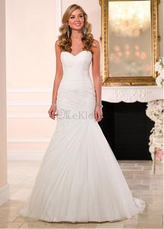 Mairmaid Sweep Zug Tüll Herz Ausschnitt Brautkleid