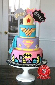 Wonder Woman, Super Girl and Batman Cake
