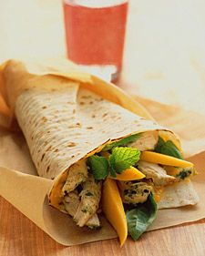 Chicken Wraps With Mango, Basil, and Mint:  4 servings