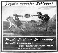 A rodeo exhibition? This is a German ad for Prym's snap fasteners which appeared in 1913 in Frauen Moden Zeitung [Women's Modern Magazine].Translation — Prym's newest hit…strongest push button….guaranteed reliable….won't open on its own….a try will convince you. - Courtesy of Nancy Jones, Germany Adjustable heavy metal snaps called mechanics buttons were popular for men's work pants in the early 1900s as they still are today although most are now gripper style.