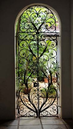 Wrought iron door .