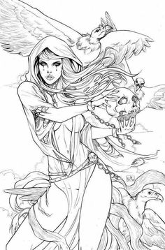 Grimm fairy tales is one adult coloring pages that I put together for relaxation and fun.Click this pin for more. Fairy Coloring Pages, Adult Coloring Book Pages, Coloring Books, Tattoo Coloring Book, Art Sketches, Art Drawings, Desenho Tattoo, Colorful Drawings, Line Art