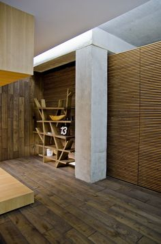 Loft Apartment.. love the different textures of wood