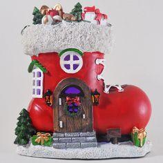 Santa Boot Fairy House with Lights