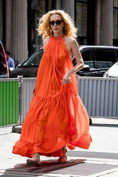 Orange Silk Maxi - Inspiring Outfit Ideas From Paris Couture Week - Photos
