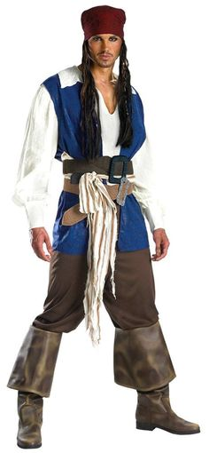 Costumes! Dlx Captain Jack Sparrow Black Pearl Halloween Costume Set Teen38-40 #DG #Pirate