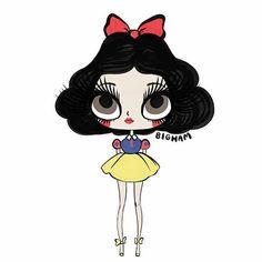 Snow White (Drawing by Bigham_Illustration Snow White Drawing, Snow White Art, Disney Princesses And Princes, Pocket Princesses, Disney Girls, Disney Love, Disney Stuff, Walt Disney, Alternative Disney Princesses