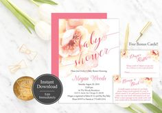 Floral Baby Shower Invitation Pink Baby Shower Invitation Flower Baby Shower Invitation Printable
