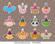 stock-vector-party-animal-face-stickers-103558925.jpg 450×363 pixels