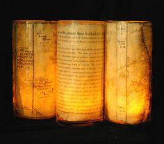 candle lord of the rings inspired.  It would be so cool to use maps of various fantasy lands!