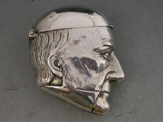 Victorian Figural Silver Vesta Case - William Gladstone