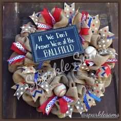 We're At the Ballfield Wreath by Sparklesamswreaths on Etsy