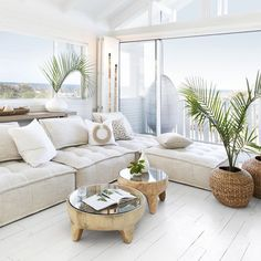 Coastal Living Rooms, Boho Living Room, Home And Living, Living Room Decor, Tropical Living Rooms, White Couch Living Room, Tropical Home Decor, Coastal Homes, Living Spaces