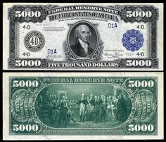 $5,000 Federal Reserve Note, Series 1918, Fr.1134d, depicting James Madison.