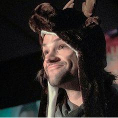 Jared Padalecki. Looking adorable in his moose hat.